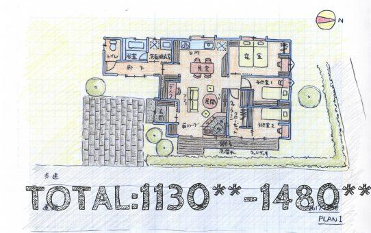 夫婦と子二人、犬一匹で暮らす平屋の家【空き家活用妄想PLAN2】