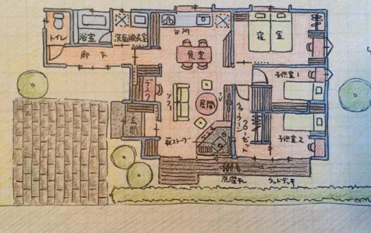 夫婦と男の子、女の子、犬。家族4人と一匹で暮らす平屋。空き家活用リノベーション妄想プラン、その2。